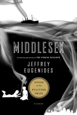Middlesex, Jeffrey Eugenides (F, 20s, brown hair, bundled up, wearing all black except for a turquoise scarf, 6 train) http://bit.ly/XYGJed