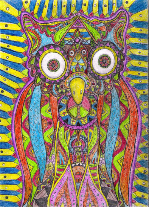 iamtrippingballs:  Moonflower Owl by Dewalt