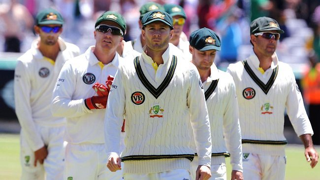 stumpsdownunder:  Michael Clarke leading the Australians, 2011/12 season From left…Nathan Lyon, Brad Haddin, Michael Clarke, Phil Hughes, Ricky Ponting