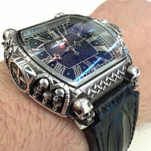 ablogtowatch:  Daniel Strom Memento Mori watch in sterling silver case with skulls. #baselworld2013 #ablogtowatch #watchporn #watch #instawatches  (at Baselworld 2013)