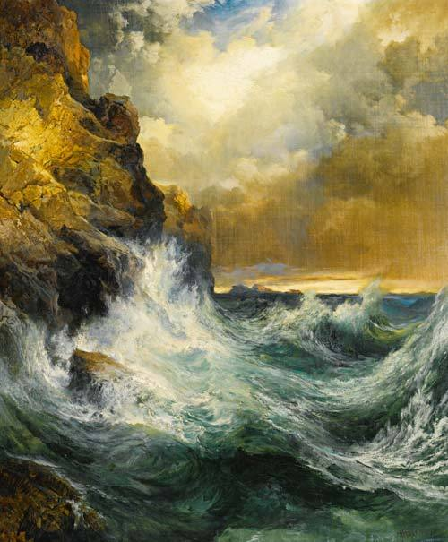 "paperimages:  Thomas Moran, ""The Receding Wave,"" 1909.  © Sotheby's"