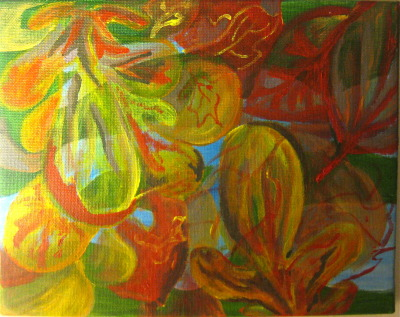 from fall visions. river scene through the leaves. 8x10 acrylic on canvas