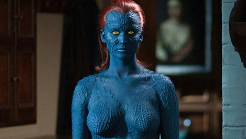 Jennifer Lawrence talks Mystique bodysuit Jennifer Lawrence has revealed that she'll be dispensing with the blue bodypaint in favour of a bodysuit when filming her scenes as Mystique in X-Men: Days Of Future Past… http://www.totalfilm.com/news/jennifer-lawrence-talks-mystique-bodysuit