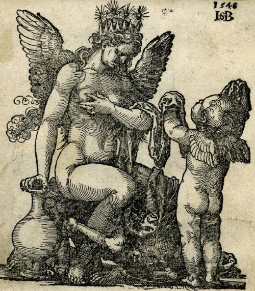 Crowned and winged female genius; sits on death as a skeleton, a winged putto in front of her.