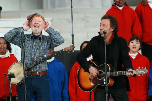 Sing louder. He can't hear us. Pete Seeger and Bruce Springsteen four years ago at President Obama's pre-inaugural festivities. An appreciation of Pete Seeger when he turned 90. A song Seeger helped make famous sung by Springsteen.