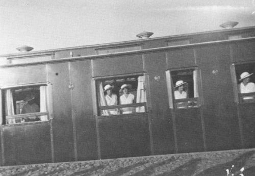 Alexandra Feodorovna and her daughters aboard the Imperial train: 1916.