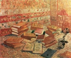 "viadeiserpenti: ca 1887 Vincent van Gogh (Dutch, 1853-90) ~ Piles of French Novels and Roses in a Glass (""Romans Parisiens"")"