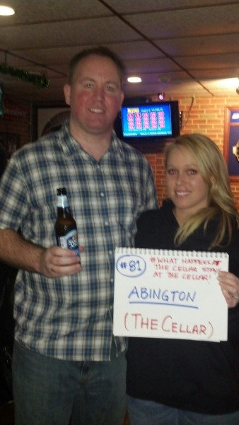 #81/Abington  The Cellar  Some of my favorite places so far have been places I didn't expect much from. I have driven by The Cellar hundreds of times, but never stopped in. What a jerk I am. This place was awesome.  It's all done over and the place is awesome. Lynne from The Cellar emailed me that she wanted to donate. When I got there she treated me like a king. Had Cellar Swag for me and the are collecting donations for me up until St Patties Day. Best customers ever at this place. So excited to go back sunday!  Next: Weymouth