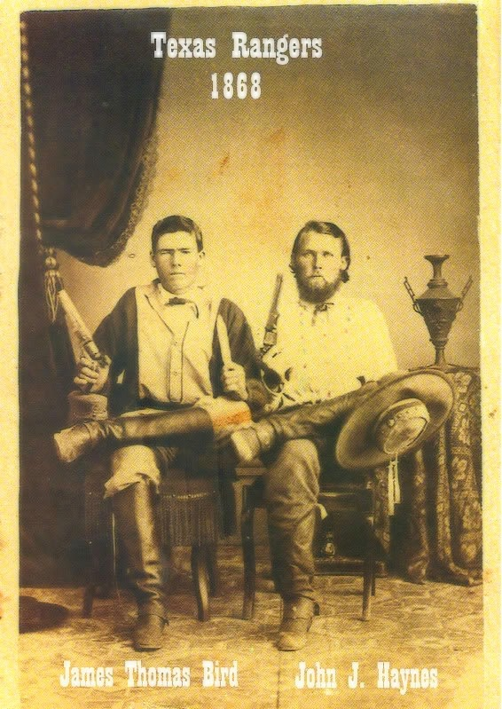 """Texas Rangers-Rangers Photographs Taken Prior To 1870 Are Rare. Pictured Here AreJames Thomas Bird And John J. Haynes In 1868 EIGHTH TEXAS CAVALRY [TERRY'S TEXAS RANGERS]. The Eighth Texas Cavalry, a group of Texas volunteers for the Confederate Army popularly known as Terry's Texas Rangers, was assembled byBenjamin Franklin Terryin August 1861. Each man was required to furnish a shotgun or carbine, a Colt revolver,aBowie knife and a saddle, bridle, and blanket. The army would provide the mounts. The Terry Rangers distinguished themselves at the battles of Shiloh (April 6–8, 1862), Perryville (October 8, 1862), Murfreesboro (December 31, 1862–January 2, 1863), Chickamauga (September 19–20, 1863), and Chattanooga (November 24–25, 1863); in the Atlanta campaign (May 1–September 2, 1864); and as raiders in Kentucky and Tennessee under Lt. Gen. Nathan Bedford Forrest. The rangers were also part of the inadequate force under Gen.Joseph E. Johnstonthat attempted to slow Maj. Gen.William T. Sherman's inexorable """"march to the sea"""" during the final months of the war.  Terry's Rangers delivered what was probably the last charge of the Army of Tennessee at the battle of Bentonville (March 19–20, 1865). Rather than surrender with the rest of Johnston's army at Durham Station, North Carolina, on April 26, 1865, 158 of the reported 248 survivors of the regiment slipped through Union lines to join other Confederates yet in the field. With the total collapse of the Southern cause, however, the Terry Rangers drifted home as individuals and in small groups, having never officially surrendered. With the exception ofHood's Texas Brigade, the Eighth Texas Cavalry was probably the best-known Texas unit to serve in the Civil War. It earned a reputation that ranked it among the most effective mounted regiments in the western theater of operations. Photo Source: Home of the Plainsmen -1830 to 1885- Thomas W. Cutrer, """"EIGHTH TEXAS CAVALRY [TERRY'S TEXAS RANGERS],""""Handbook of Texas Online. (h"""