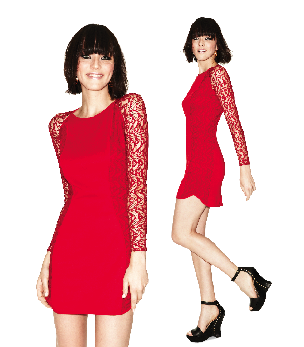 Johana's sheath dress is red HOT, HOT, HOT!!