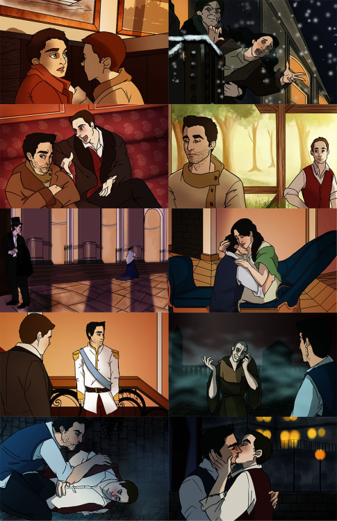 cutewolfboys:  Teen Wolf Anastasia Crossover: Ten years ago Gerard Argent sought to kill the Hales, the royal family of Beacon Hills. Only he failed, two of the Hale children survived, Laura and Derek. Derek and Laura were separated and Derek doesn't remember who he is, only that he carries a small key around his neck that belongs to something important. Enter Stiles, previously employed by the castle as a kitchen boy while his father worked for the castle guard, he hears of Laura's reward for finding her brother and sets out to hold auditions for 'Derek'. He happens across Rek (Derek) and together him, his best friend and cohort Scott, travel to meet Laura, teaching Rek the ways of Royality in hopes of convincing Laura that Rek is her long lost little brother. Neither of them are prepared for the outcome of their adventure.  Allison: How did you escape the castle?Derek: *frowns* There was a boy…he opened a wall..*shakes his head* Sorry, that…that sounds weird..—Stiles: He really is Derek…Scott: What do you mean, of course he is!Stiles: No, Scott… I was that little boy…I got them out..Scott: So then, we really did it?Stiles: ….yeah…Whew. This was fun. Each scene is based off a scene from the movie. I can always post the individual pictures too, if people are interested.