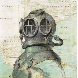 Illustration of vintage high pressure diving equipment