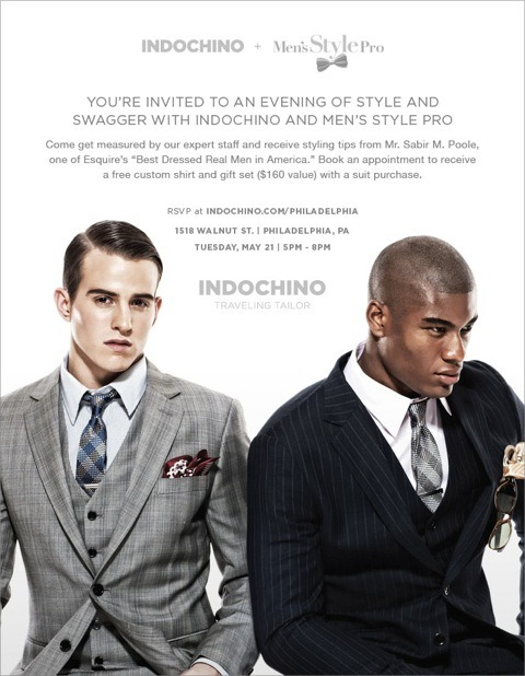 Guys in the Philly area, Listen UP!!! I've partnered with Indochino on their Philly leg of their Traveling Tailor Pop-Up Shop Series for a styling event on May 21st from 5pm - 8pm (1518 Walnut Street). Book an appointment to get measured by one of Indochino's master tailors and I will be on hand for styling advice. For more info check out http://mensstylepro.com/?p=6441