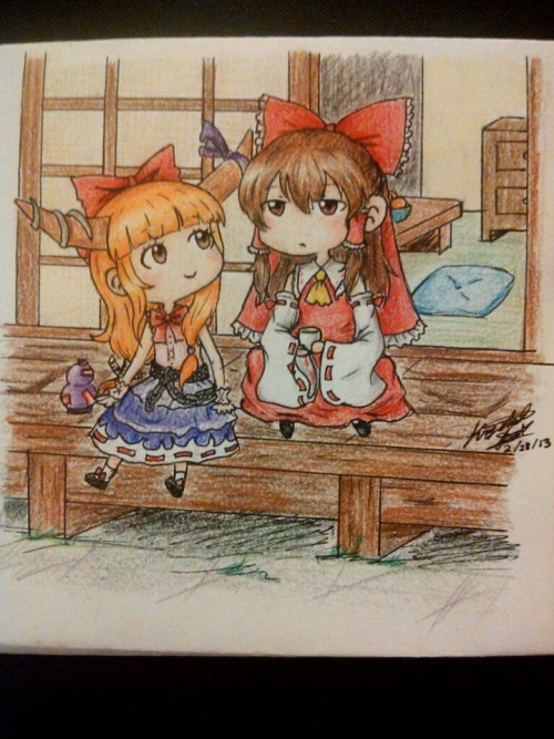 this was a commission for a friend he just requested reimu and suika =v=