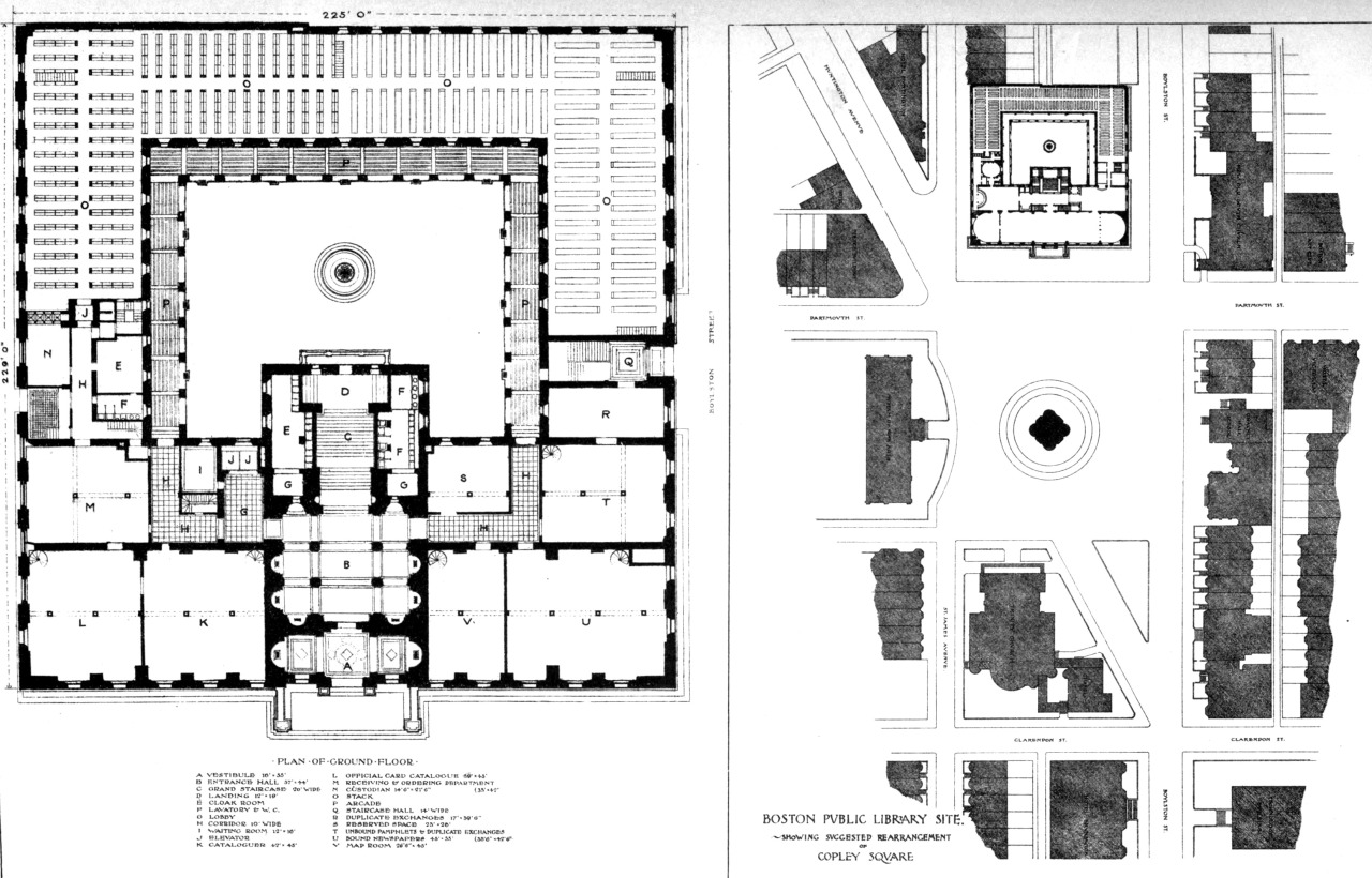 Plan of ground floor and site plan of the public library on Copley Square, Boston
