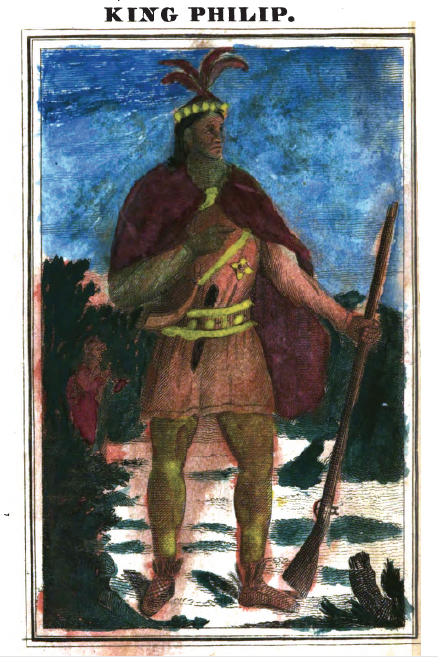 Child-painted frontispiece of King Philip.  From The History of King Philip's War; Also of Expeditions Against the French and Indians in the Eastern Parts of New-England, in the Years 1689, 1690, 1692, 1696 and 1704 by Benjamin Church (1825). Original from the University of California. Digitized November 29, 2007.