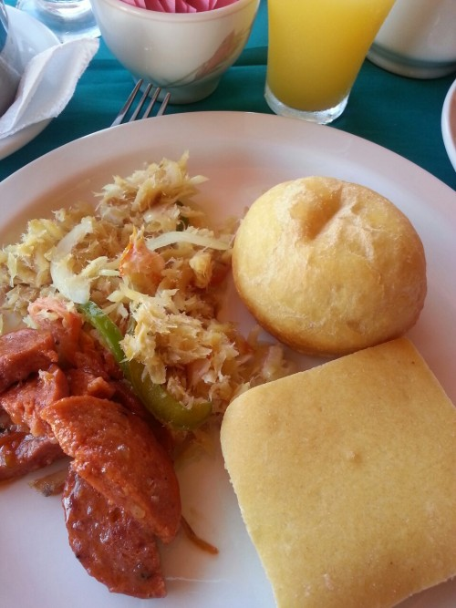 Saltfish, sausage & bake…breakfast in Tobago. HAVE A HAPPY EASTER!