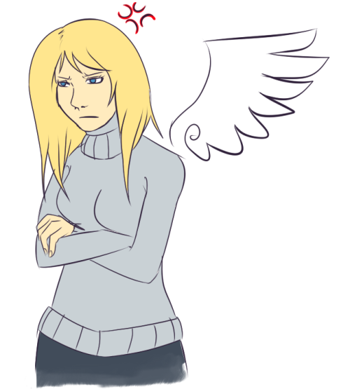 ask-kayle:  I don't have time to things like this but my mun forced me do this once again. Okay? Not my fault.(( And I blame askfireannie.. Its her fault. ))  Because a bothered Kayle with a nice sweater is something I MUST reblog