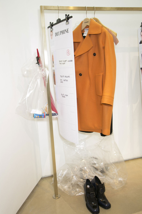 Backstage at jil sander fall.winter 2013-14