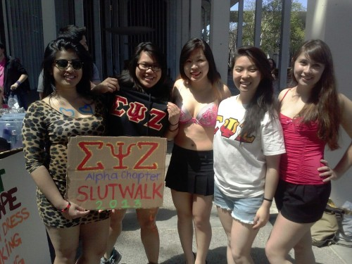 "Sigma Psi Zeta Sorority Inc. Alpha Chapter at SUNY Albany's Slutwalk 2013  ""This is an anti-rape, anti-sexual assault, anti-BULLSHIT rally!"""