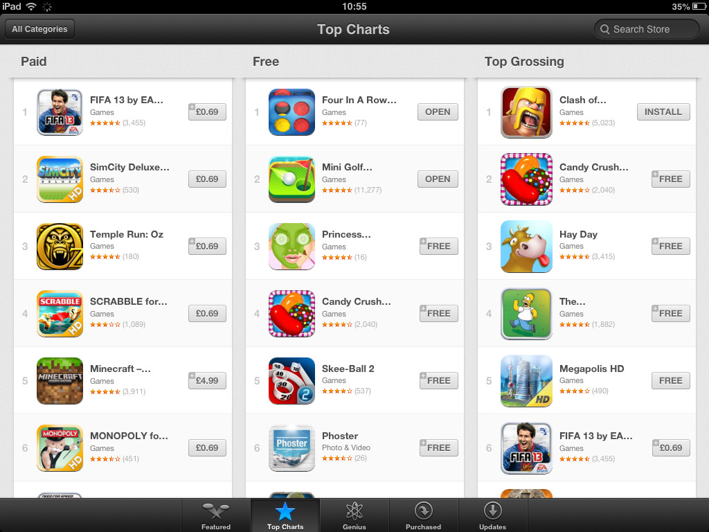 TOP OF ALL THE APPS FOR IPAD IN UK !!! ^__^Happy Easter everyone and thanks a lot!!!! Download For In A Row For Free for your iPhone, iPad and iPod Touch!https://itunes.apple.com/app/four-in-a-row-2013/id604921715  Watch our video: http://www.youtube.com/watch?v=urm-RsWhBC8