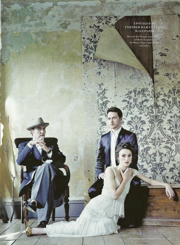 suicideblonde:  Joe Wright, James McAvoy and Keira Knightley - Vanity Fair, November 2007