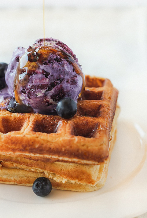 fattributes:  Brown Butter Waffles with No-Churn Blueberry Ice Cream