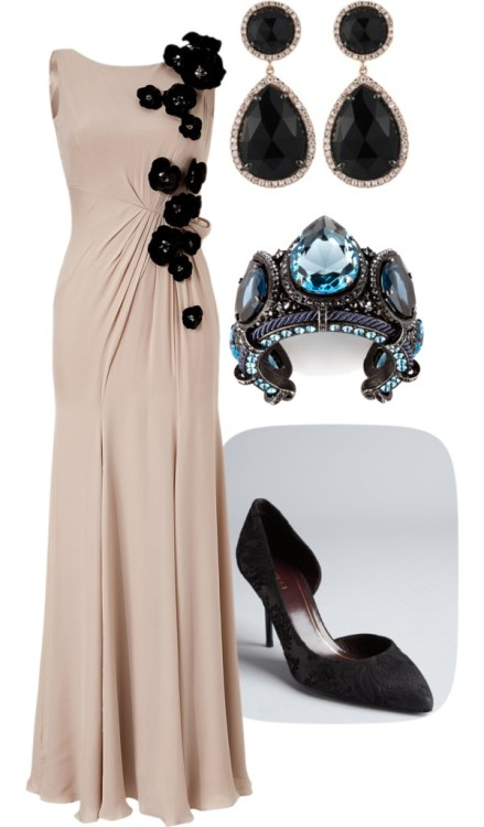 A night out by deannewinchesterspn featuring lanvinJenny Packham evening dress / Gucci  shoes / Lanvin  / Majolie Collections pink gold jewelry