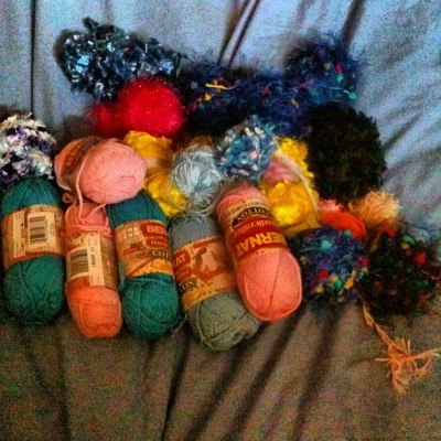 I bought 23 balls of novelty yarn today. I promised @richardzimmer it would be gone in a month. #365 #yarn #knitting #knitnicoleknit  (at Knit, Nicole, Knit!)