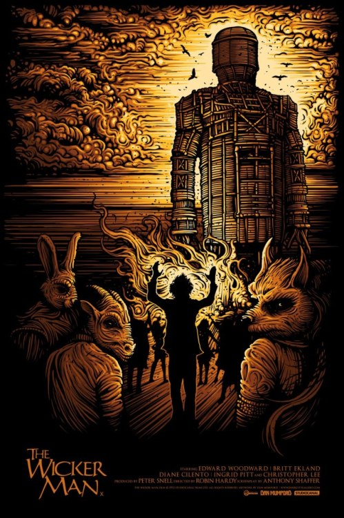 xombiedirge:  The Wicker Man by Dan Mumford Part of The Best of British Cinema print series, coming soon at Dark City Gallery / Facebook.