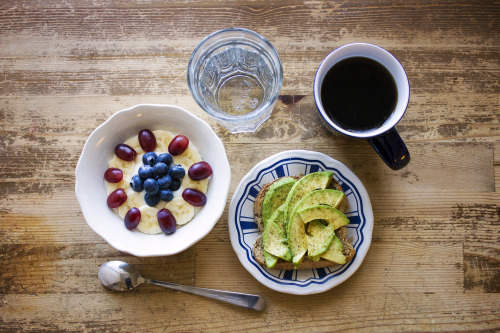 morninghealth:  Today: homemade bread with avocado and yoghurt with grapes, banana and blueberries.