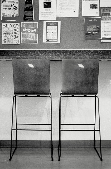 High Chairs Stanford, California, May 2013. ©2013, César Ambriz. All Rights Reserved. Notes: (Set 4/5) Assignment on the duality of things and spaces observed in our daily life experiences. All from 35mm film, digitalized from silver gelatin prints.