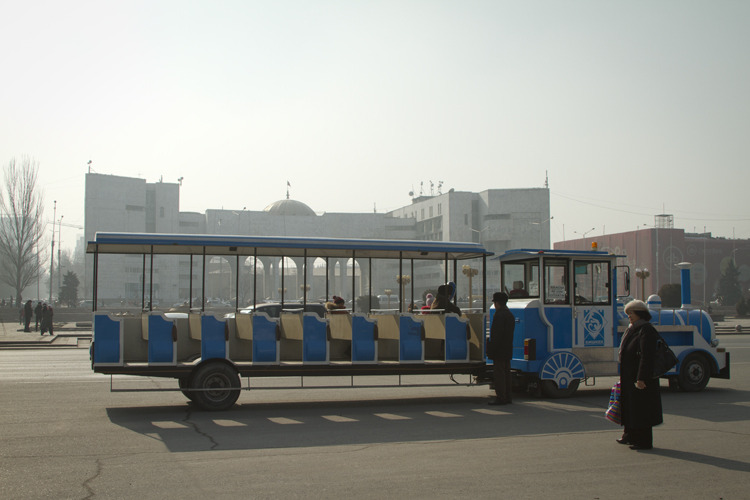 The fancy bus that drives people around on holidays, Ala-Too Square, Bishkek, Kyrgyzstan.