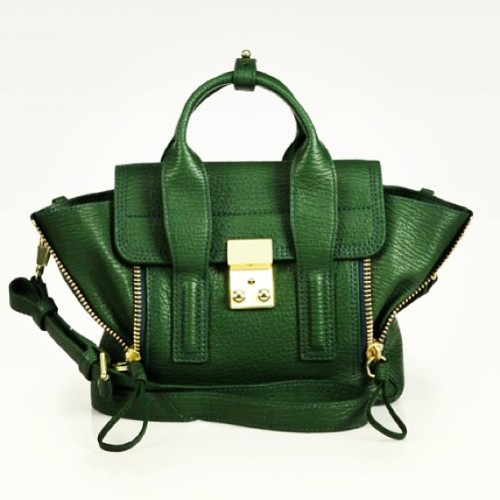 Something about this color…. 3.1 Phillip Lim ❤ #minisatchel #bags #goldtones #philliplim #pashli #lock #leather #green #zippers