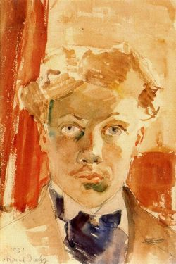 Raoul Dufy (French, 1877-1953), Autoportrait, 1901. Watercolour on paper, 28 x 19 cm.