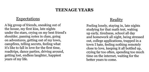 Hah the teenage years expectations are actually very accurate for me. They were the best years of my life. So many friends, parties, random mishes and just general happiness. Now as an adult I am more in the 'reality' category with fuck all friends, studying all the time, being stuck here when all I wanna do is run away to Australia and be with my family and just waiting for this shitty time in my life to be over