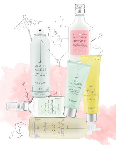 "sephora:  THE TIP-OFF: DRYBAR'S COCKTAIL-INSPIRED HAIRSTYLES  Lena Park asks a hair-obsessed bartender to weigh in. Since Drybar offers cocktail-inspired blowouts and products to match, the Sephora Glossy asked Seattle bar owner, mixologist, and hair junkie Heather Allard for some tips on adding extra finesse to cocktails you can master at home. THE MAI TAI: Loose, beachy waves THE LOOK: ""This is my favorite look to rock, especially when I have to help out on the floor because it keeps its flirty, natural-looking style even when I sweep it back into a loose ponytail.""THE RECIPE: Splash of Hot Toddy Heat Protector and Frizz Fighter + double shot of Southern Belle Volumizing Mousse + dash of the Money Maker Flexible Hold Hairspray + garnished with The Chaser.THE DRINK TICKET: ""If I'm sipping on one of these during the day, ideally while sitting by the pool, I like to add a little splash of lemon-lime soda for a refreshing, effervescent kick."" THE MANHATTAN: Sleek and straightTHE LOOK: ""Because it's so easy to wear, this is what I consider the go-to 'bestie date night' look. It always catches the guys' attention.""THE RECIPE: Splash of Hot Toddy Heat Protector and Frizz Fighter + Cream Soda Smoothing Cream + topped off with 100 Proof Treatment Oil.DRINK TICKET: ""Soak a real bing cherry in brandy to find an unexpectedly tasty treat at the end of this smooth drink."" THE COSMO: Sexy, loose curlsTHE RECIPE: Splash of Hot Toddy Heat Protector and Frizz Fighter + double shot of Southern Belle Volumizing Mousse + generous free pours of Money Maker Flexible Hold Hairspray + The Chaser Shine Pomade for sexy, loose curls.THE LOOK: ""I love seeing chicks walk into the place with hair like this. You can tell guys definitely dig the playful, sassy vibe that this look gives off.""DRINK TICKET: ""Instead of muddling cranberry juice and limes, go for a twist and mix a flavored vodka together with fresh blueberries and pomegranate juice.""  THE UP-TINI: A shaken—not stirred—twist on a classic style.RECIPE: Splash of Hot Toddy Heat Protector and Frizz Fighter + Money Maker Flexible Hold HairsprayTHE LOOK: ""I reserve this sultry, sophisticated up-do for special summery nights when I want to show a little kissable neck. Sensual and classy—a win in my book.""DRINK TICKET: ""To make your martini a little smokier, throw in a splash of your favorite scotch and some homemade Roquefort-stuffed olives. My best friend's and my go-to to unwind after a long night at work!"" SHOP DRYBAR HERE ▸"