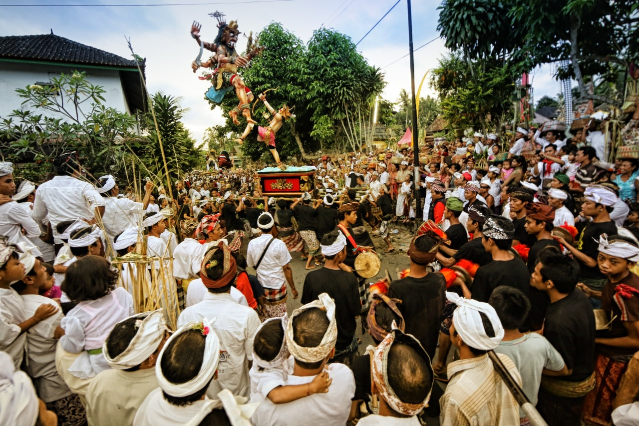 A small village celebrating Ogoh-ogoh before the Nyepi.