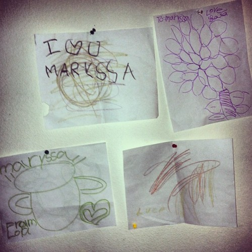 I love my art pieces on my wall. And all the little artists that drew them for me. #instaart #kidsart #ilovekids #theyloveme #morekiddosplease