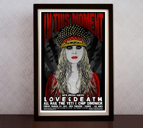Up for sale NOW! In This Moment hand screenprinted poster for tonight's concert at the Rex Theater in Pittsburgh. Limited Edition of 50.  https://www.etsy.com/listing/127865142/in-this-moment-screenprinted-poster