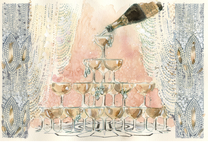 tiffanyandco:  Tiered champagne glasses allude to the overflowing decadence of the Jazz Age.