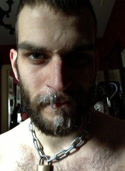 abeardedboy:  dad's cum on his boy's face
