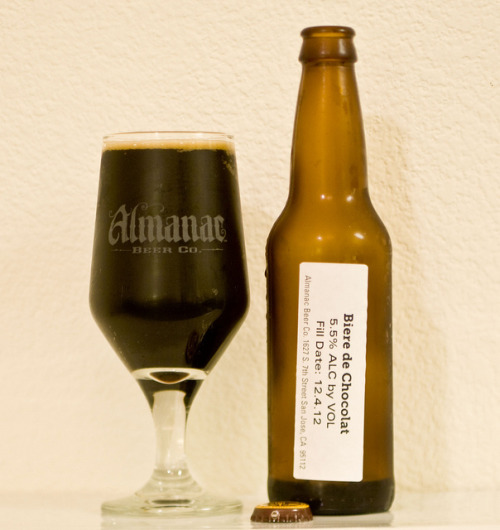 Almanac Beer Co. | Biere de Chocolat Almanac paired up with Dandelion Chocolates of San Francisco and added Biere de Chocolat to their line of 12oz table beers. If there's one thing to be said about this beer is the ridiculous amount of chocolate taste it has, and retains. Chocolate hits your olfactory senses right away, then as you take a taste…your front, mid and back palate. If that wasn't enough, chocolate lingers for just an incredible finish.  One of the most chocolatey beers I've had - evAr.