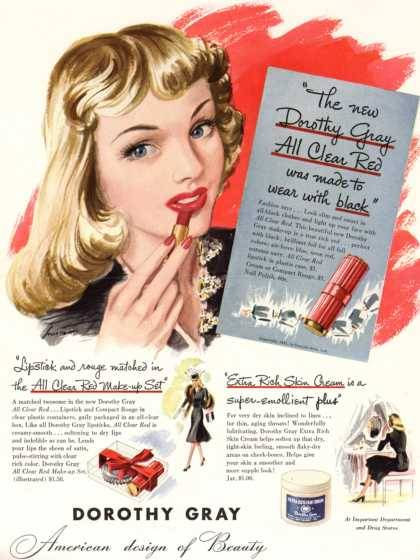 1941 ad for Dorothy Gray lipstick