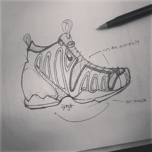 slimmpickinz:  Kk, I'm done with this Foamposite concept. It needs more or less of something, blah. #nike #foamposite #sketch #doodle #concept #design #ballpoint  my Homie Slimm getting busy…