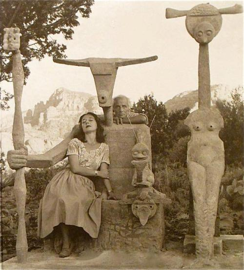 b22-design:  Dorothea Tanning and Max Ernst with his sculpture Capricorn  John Kasnetsis - 1947