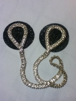 Attached Rhinestone pasties. Black and silver fabric background, with beautiful silver teardrop shaped rhinestone chain on top. Lightweight and durable! $30 Message to order, or to inquire about custom orders :3