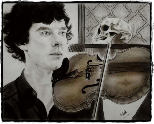 thescienceofjohnlock:  annacarrota:  annacarrota:  TumblrConUsa commission work for elizabrontosaurus She wanted me to draw Sherlock, the violin and the skull. Hope you like it ;) Pencil, charcoals, soft pastels  Uploaded a new pic of the drawing -so I'm updating this post. Sorry, the first pic I posted was bad, terrible quality. This new one makes more justice to the drawing, its colouring. Still… I'll try to take another photo. My camera strikes again :(  LOVE this Anna x