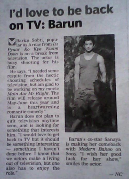 arnav-ki-khushi:  Barun in an article!