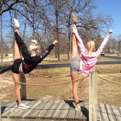 heylookcheer:  Me and My bestfriend Kat. I am in the black babes and she is in Pink <3 xoxo  Definitely Peyton Mabry …. wooow.